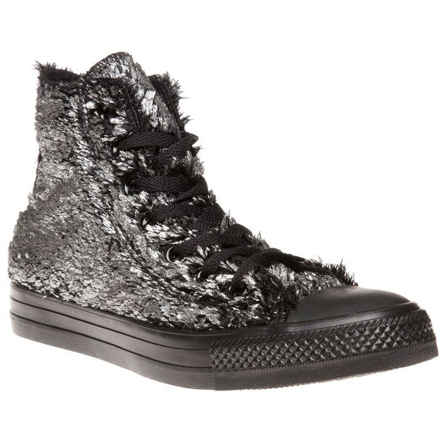 Converse All Star Material Sparkle Fur Trainers Metallic