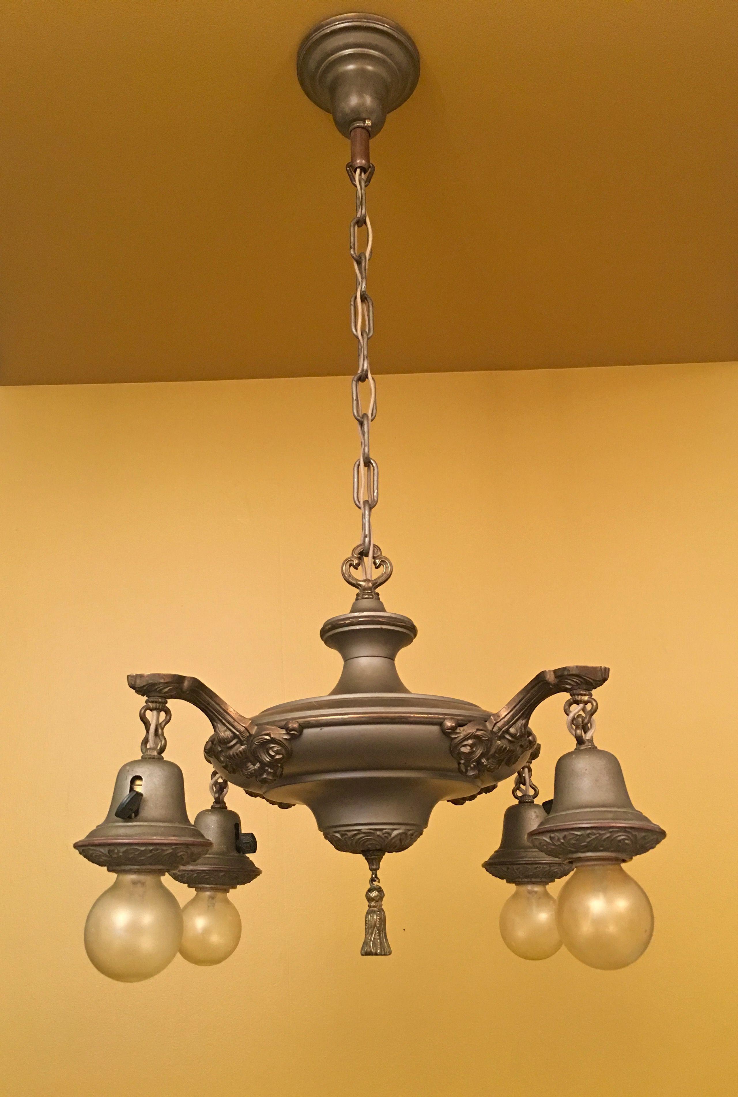 1920s Pan Chandelier Antique Lighting Metal Lighting Vintage Lighting
