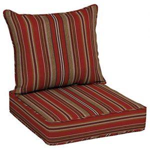 Allen Roth 2 Piece Priscilla Stripe Red Deep Seat Patio Chair Cushion Sale Backyardequip Com Patio Seat Cushions Outdoor Couch Cushions Patio Chair Cushions