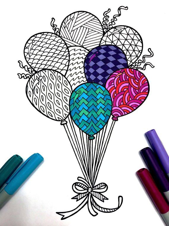 Balloons - PDF Zentangle Coloring Page in 2018 | Zentangles ...