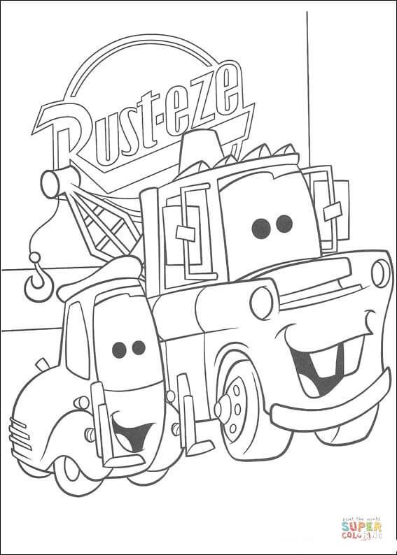 RustEze logo behind Mater coloring page Free Printable ...