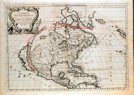 El Paso de Anian supuestamente encontrado por los españoles aquí señalado sobre un mapa popular italiano
