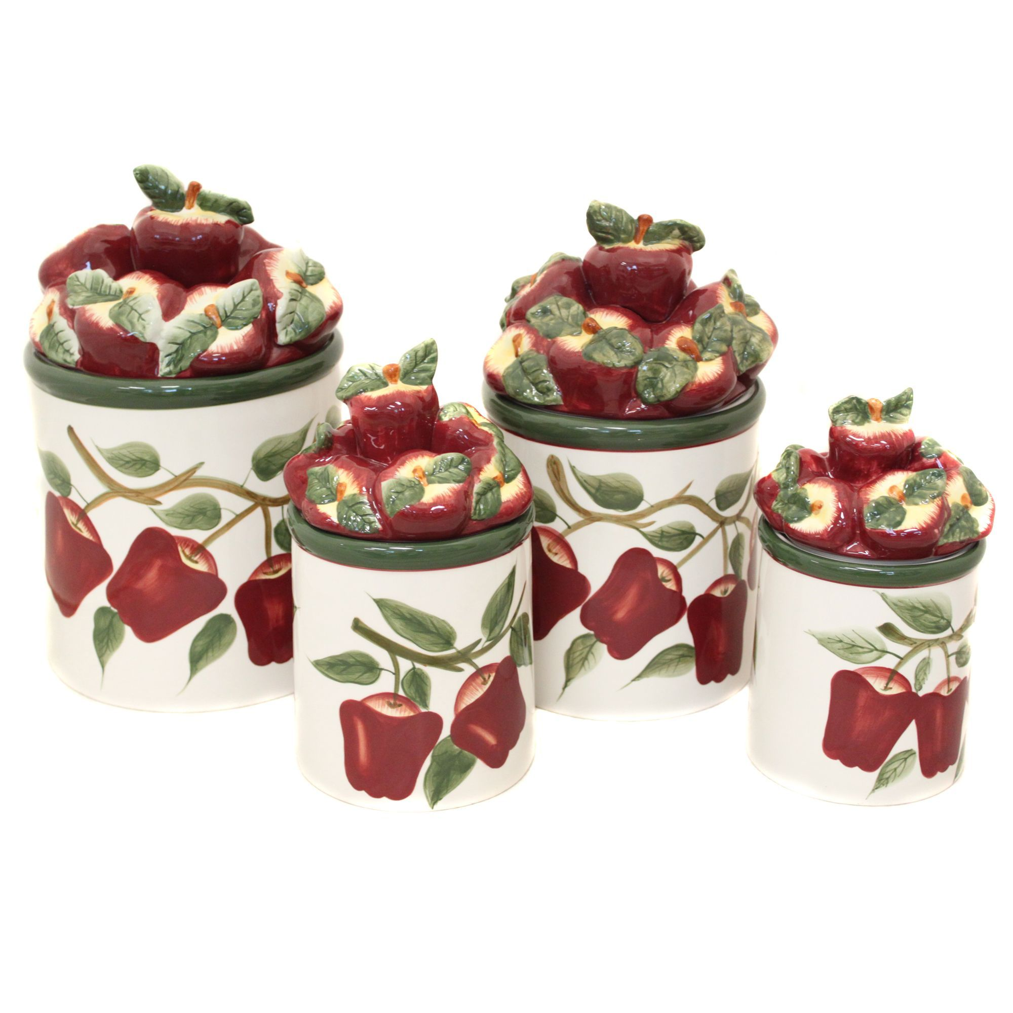 Tuscan old world drake design medium berry kitchen canisters set of 3 - Canister Sets