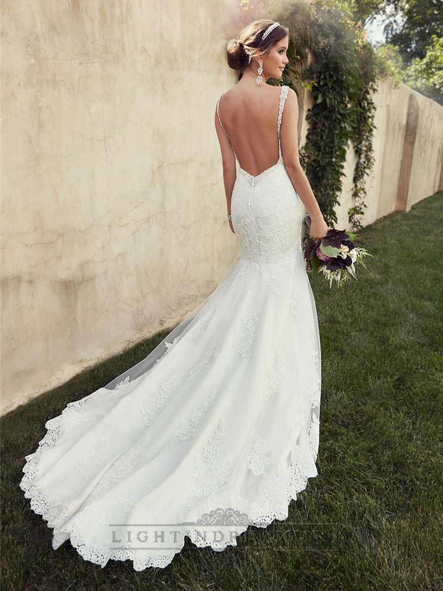 Wedding dresses lace backless gown