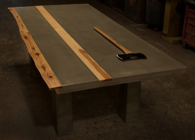 Concrete  Hickory Wood Dining Table Concrete Woods And Tables - Concrete dining room table