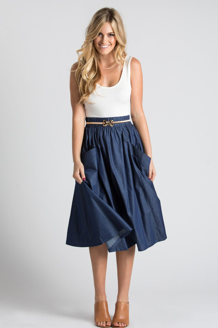 Mia Denim Flare Midi Skirt with Pockets | Fem Haute Couture ...