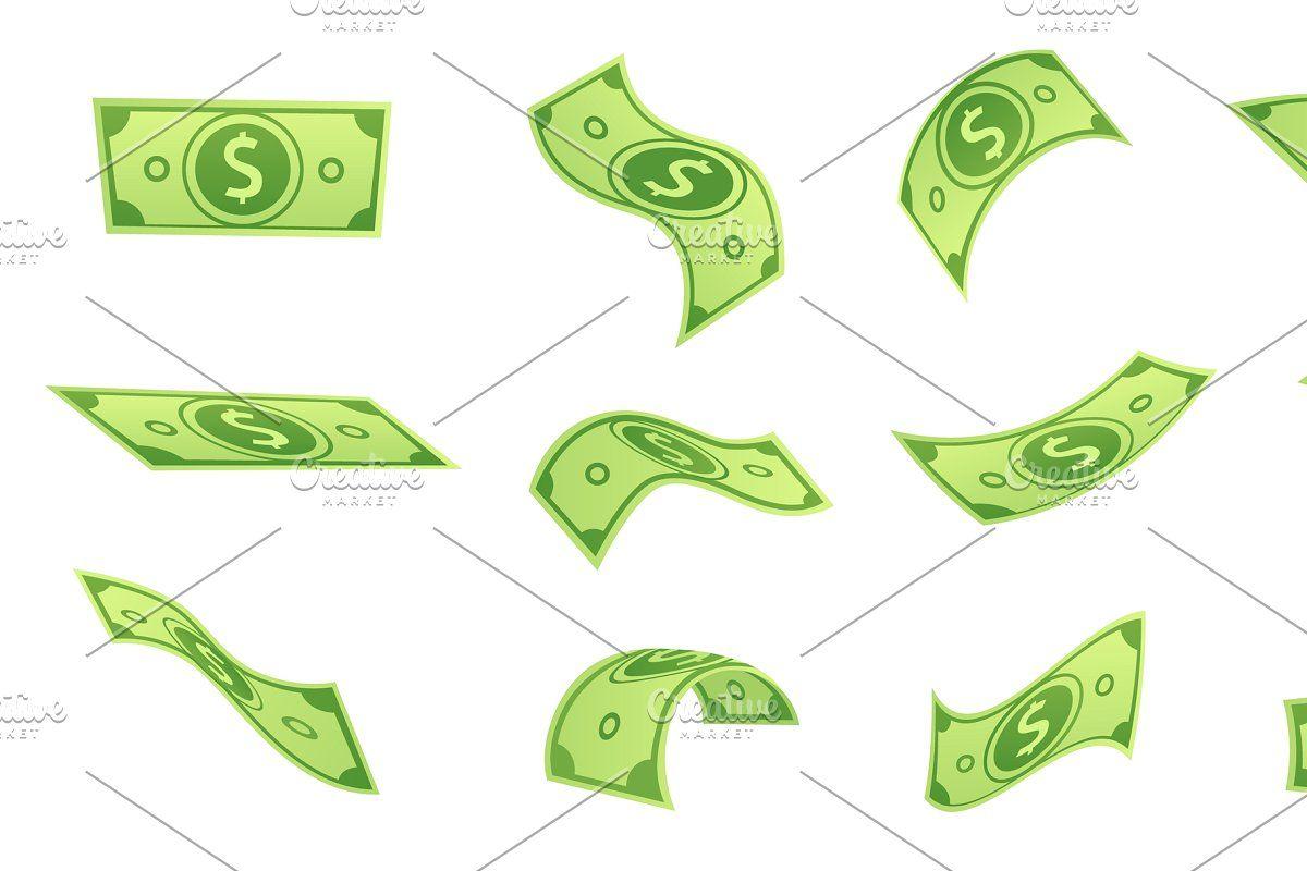 Cartoon Falling Money Bills Flying Sponsored Paid Dollar Green Cash Bill Money Bill Bills Money