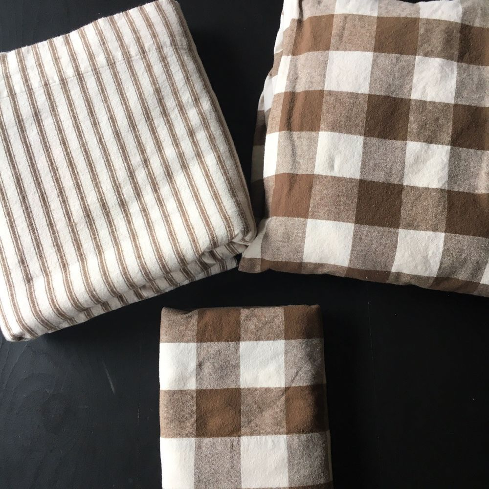 Ll Bean Flannel Sheet Set Twin Brown Plaid Stripe Ebay Twin Sheet Sets Cozy Flannel Twin Sheets