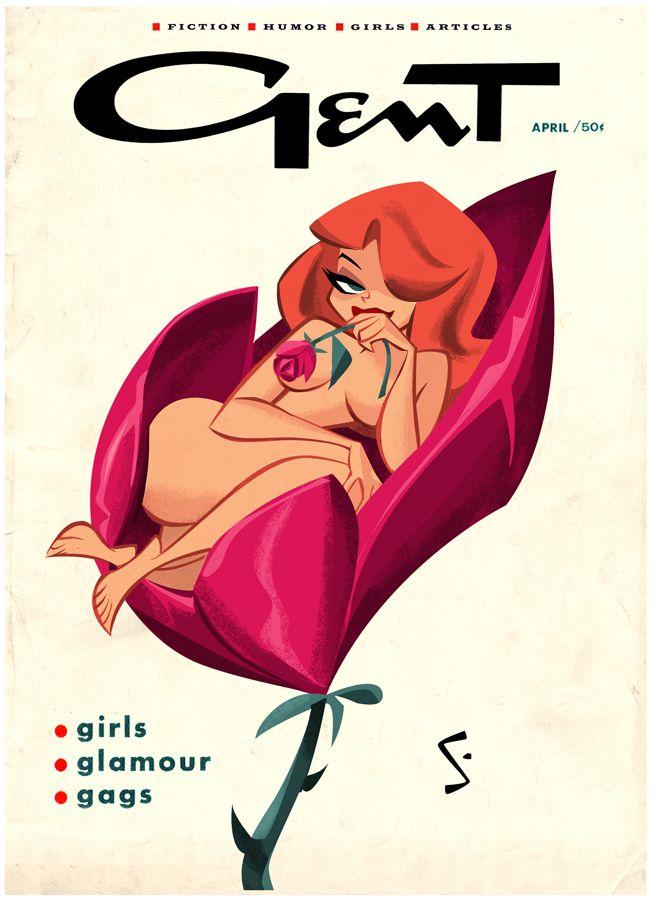 Shane Glines - Flower Girl - http://cartoonretro.deviantart.com/ - #cartoon #pinup