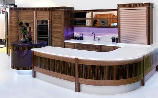 Wave Effect Splash Back Lit Beautifully With Purple LED Lighting #divine # Kitchen #design