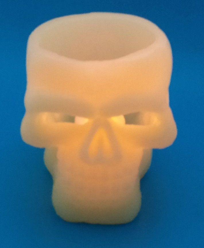 Wax Skeleton Head Skull Halloween Decoration w/ LED Tea Light