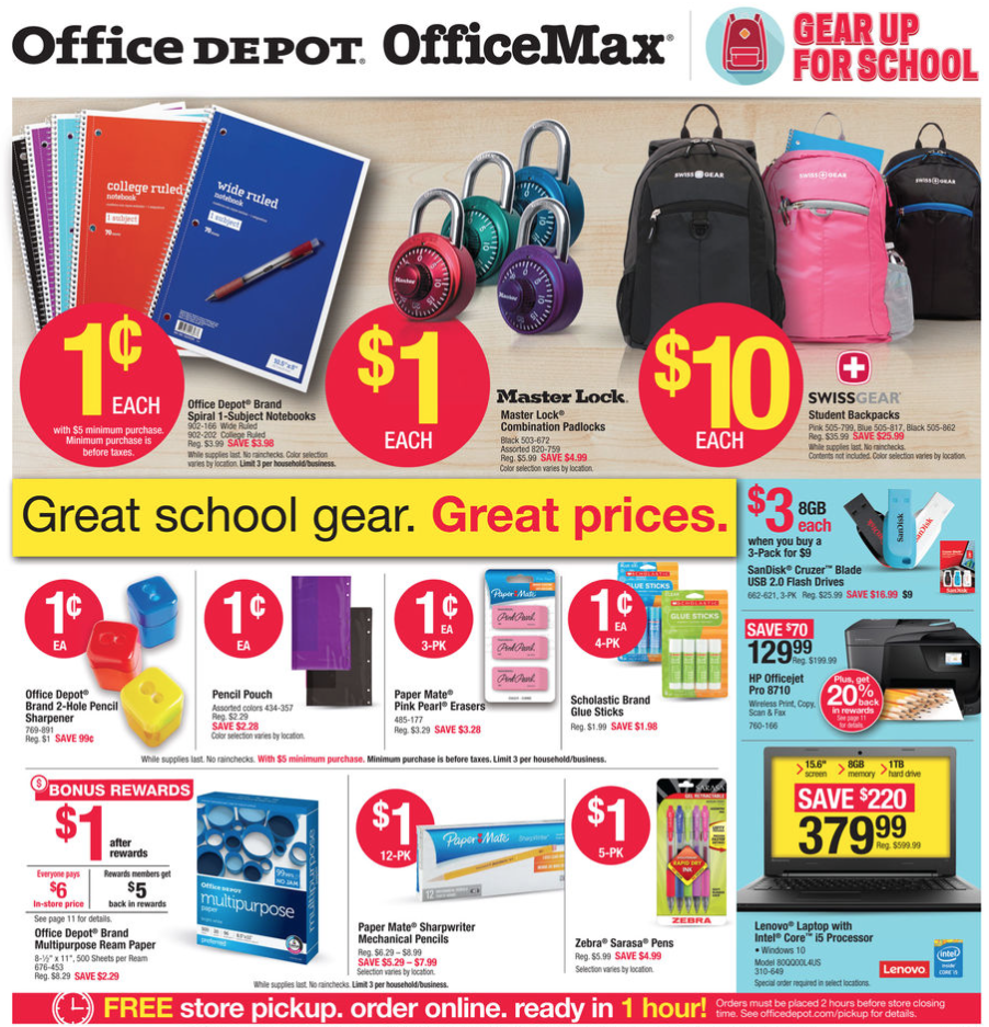 Office Max Office Depot Back To School Deals For The Week Of July