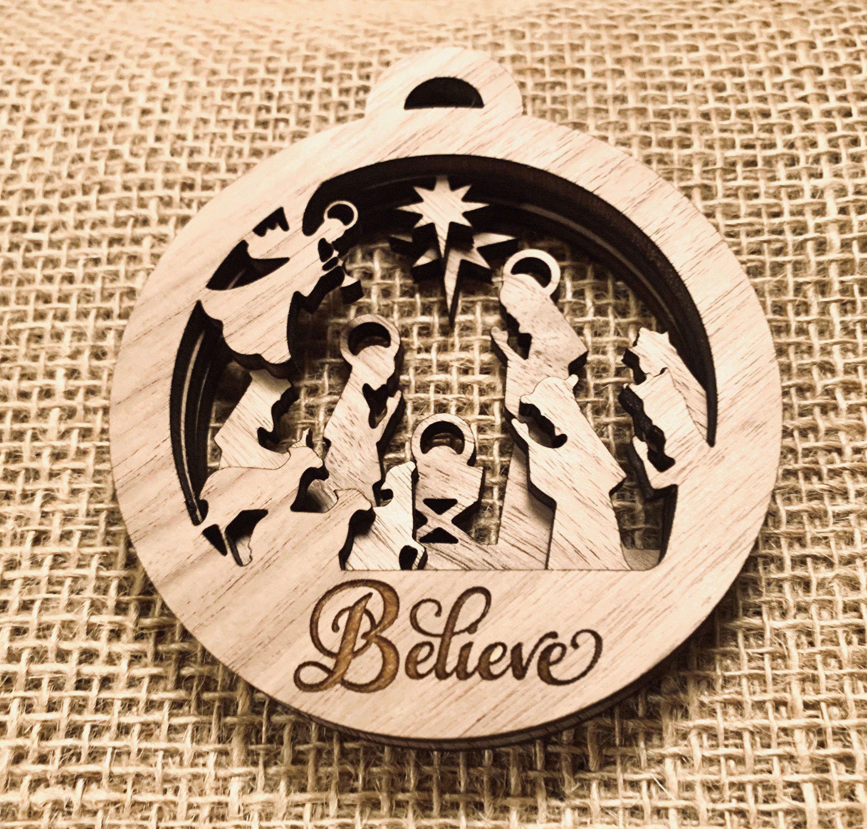 Layered Nativity Christmas Ornament