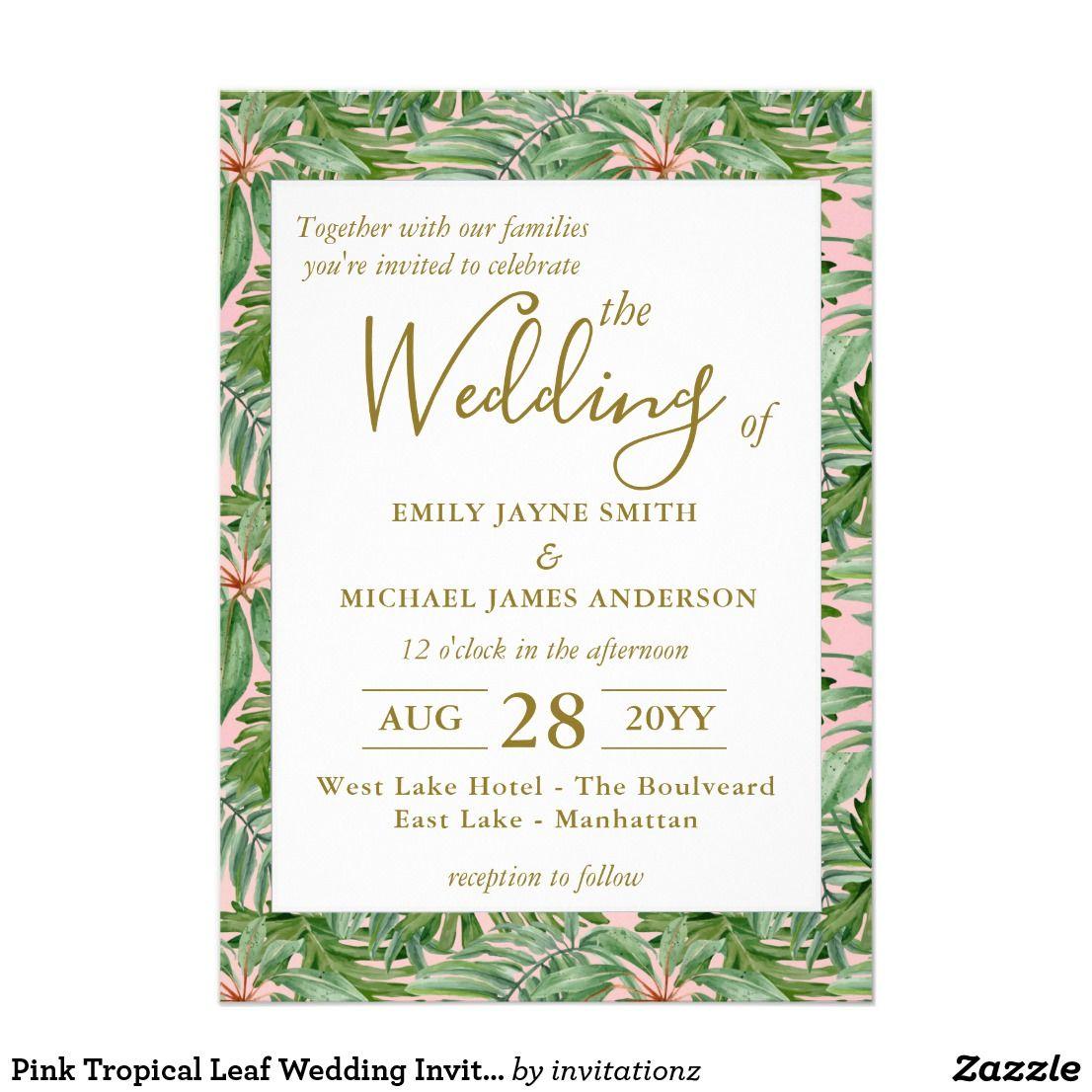 Pink Tropical Leaf Wedding Invitation Hawaiian | Trending Wedding ...