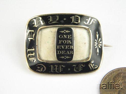 Antique English 15K Gold Black Enamel Mourning Locket Brooch C1838 Henry Jecks | eBay