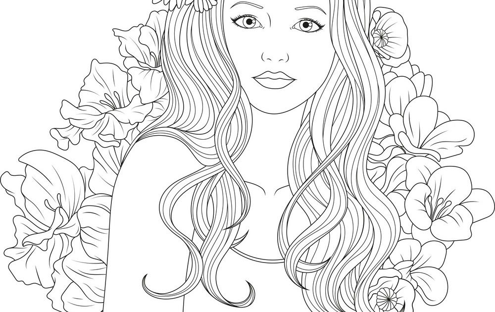 Real Girl Coloring Pages Di 2020 Adult Coloring Pages Illustration Drawings