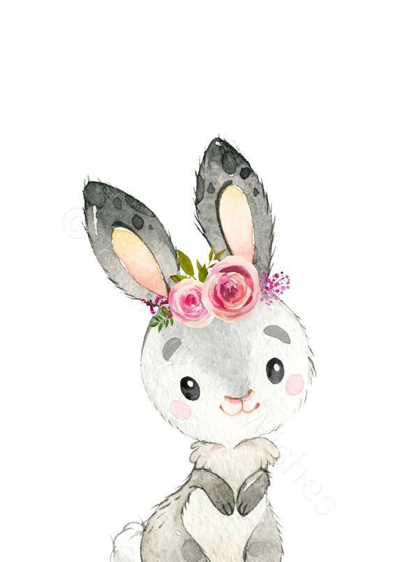 Girls Woodland Nursery Prints Set of 10, Pink Floral Woodland Animal Prints, Floral Woodland Theme Nursery, Girls Animal Nursery Decor #framesandborders