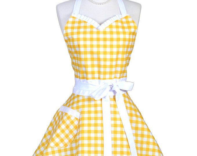 Sweetheart Retro Apron / Handmade Womens Full Kitchen Apron in ...