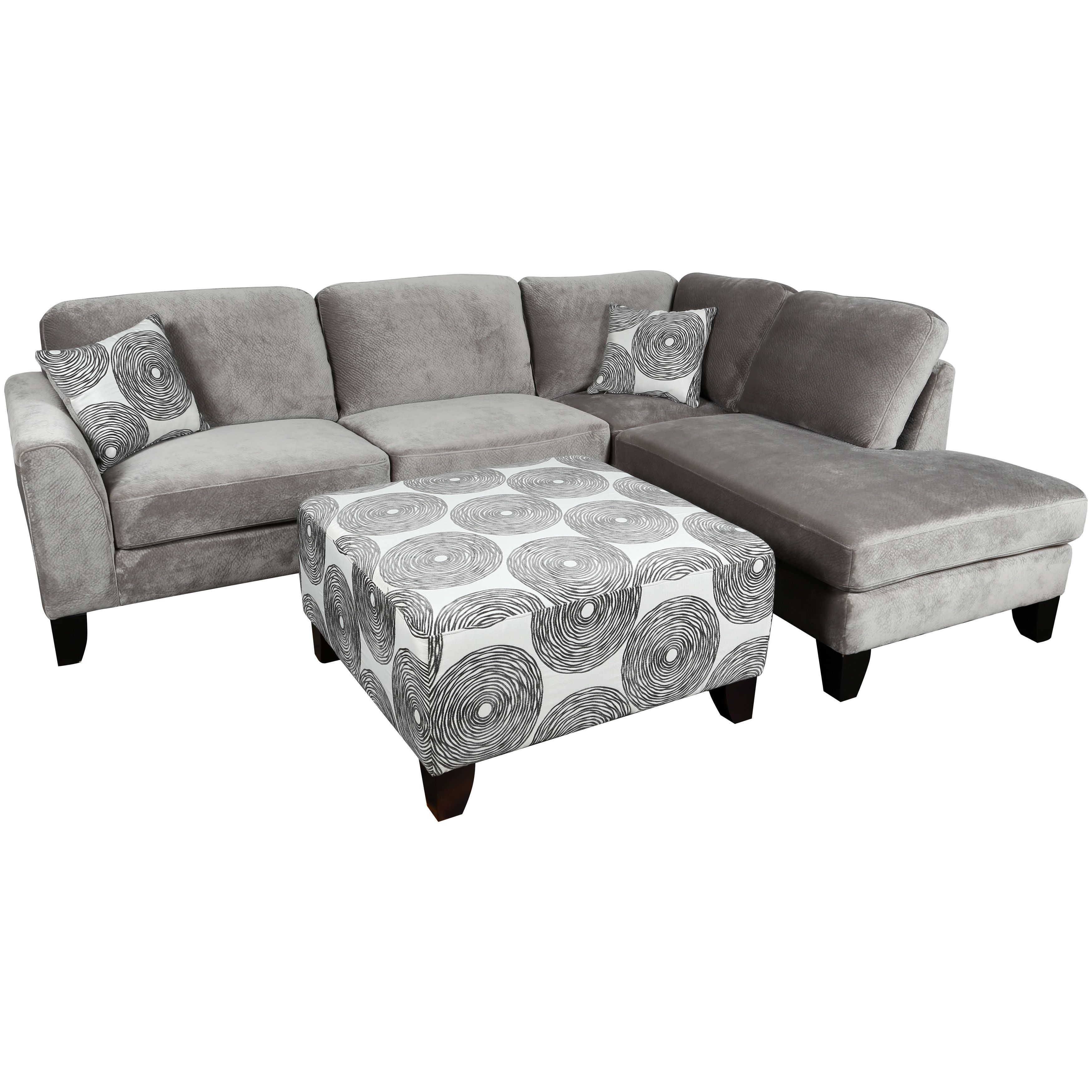 Porter reese dove grey sectional sofa with optional ottoman reese sectional with ottoman ivory cream foam