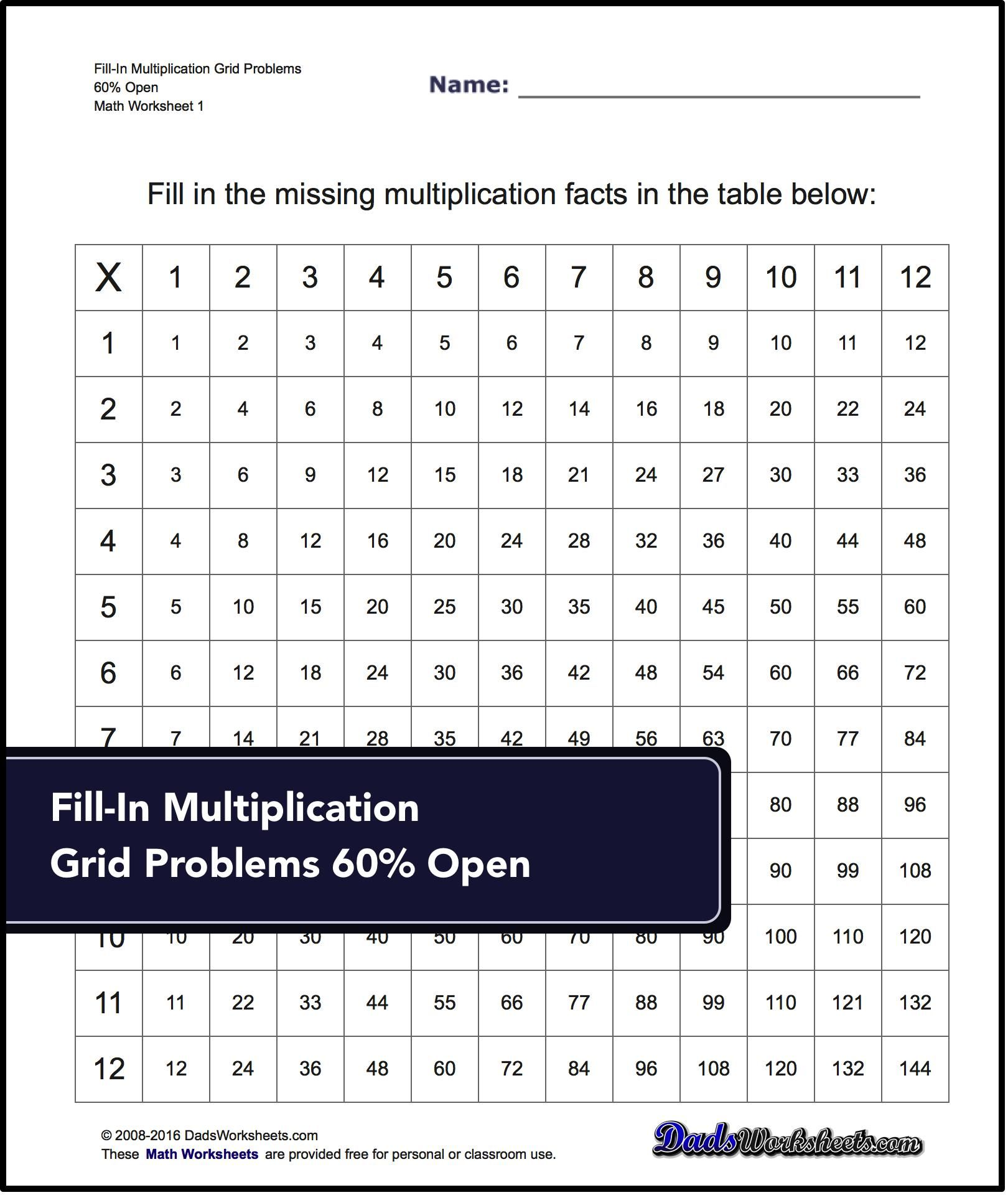 Multiplication Worksheets For Fill In Multiplication Grid Problems 60 Open