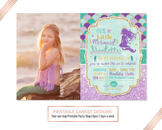 Mermaid Invitation Birthday Teal Purple Gold Under The Sea Inv Invitations