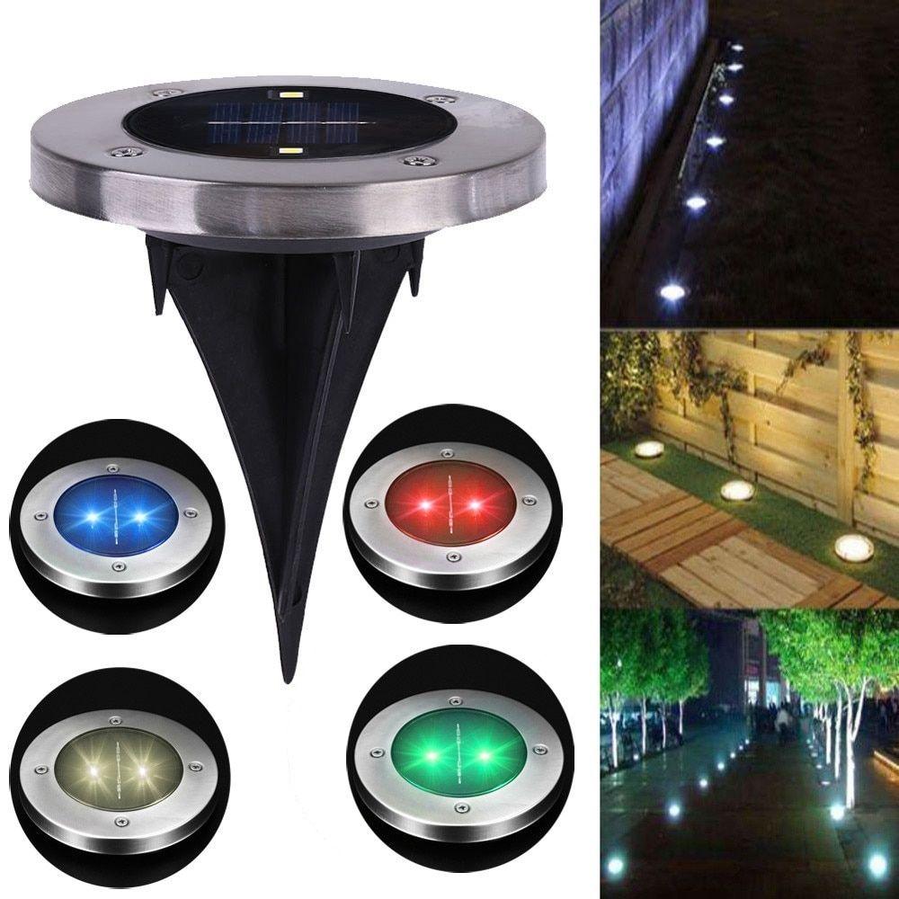 ICOCO 2 LED Solar Lamp Outdoor Path Light Spot Lamp Yard