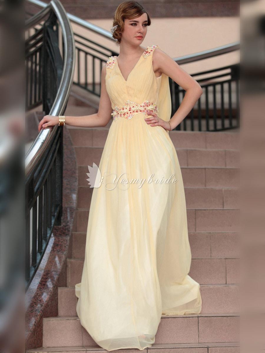 Sleeveless vneck empire waist long formal dress anything and