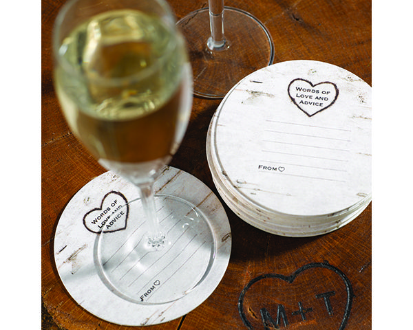 Wood Grain Design Coaster for a rustic, barn, farm or country wedding. - Wine Country Occasions, www.winecountryoccasions.com