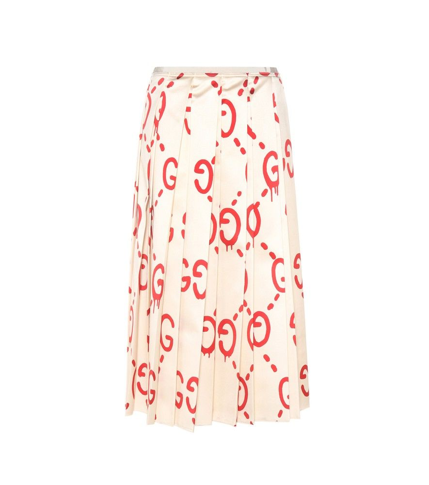Gucci - GucciGhost pleated printed silk skirt - Gucci teams up with  graffiti artist Trouble Andrew