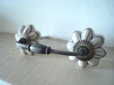 Poigne De Tiroir En Mtal Et Porcelaine Style Rtro Vintage