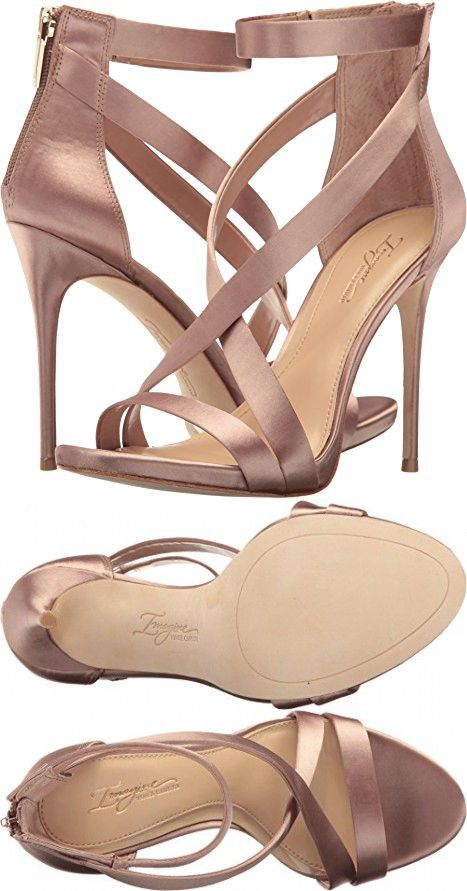 Imagine Vince Camuto Womens Devin Warm Taupe Deluxe Satin Sandal