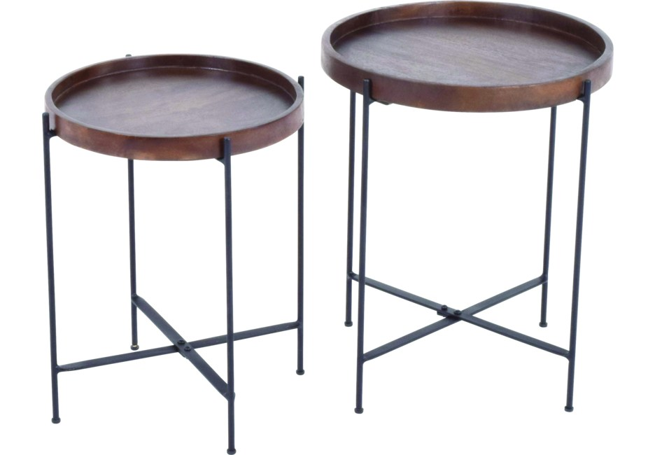 Corlear Brown Nesting Table Round Accent Table Accent Table Table