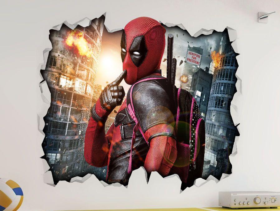 Marvel deadpool movie 3d look wall vinyl sticker poster - Poster mural 3d ...