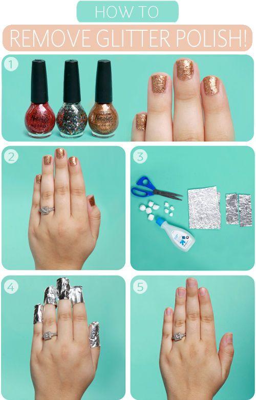 Remove glitter nail polish