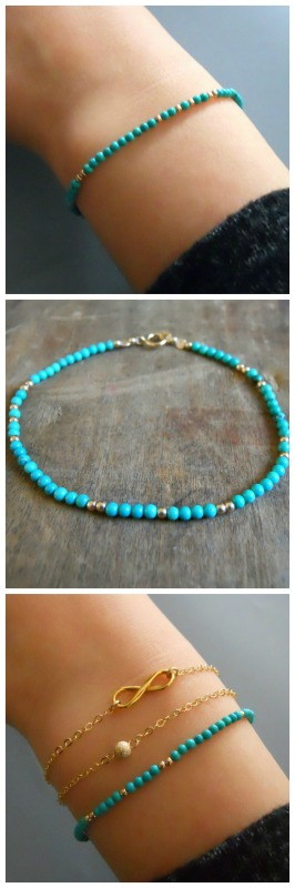 Turquoise and gold beads bracelet. Perfect for layering with more bracelets.