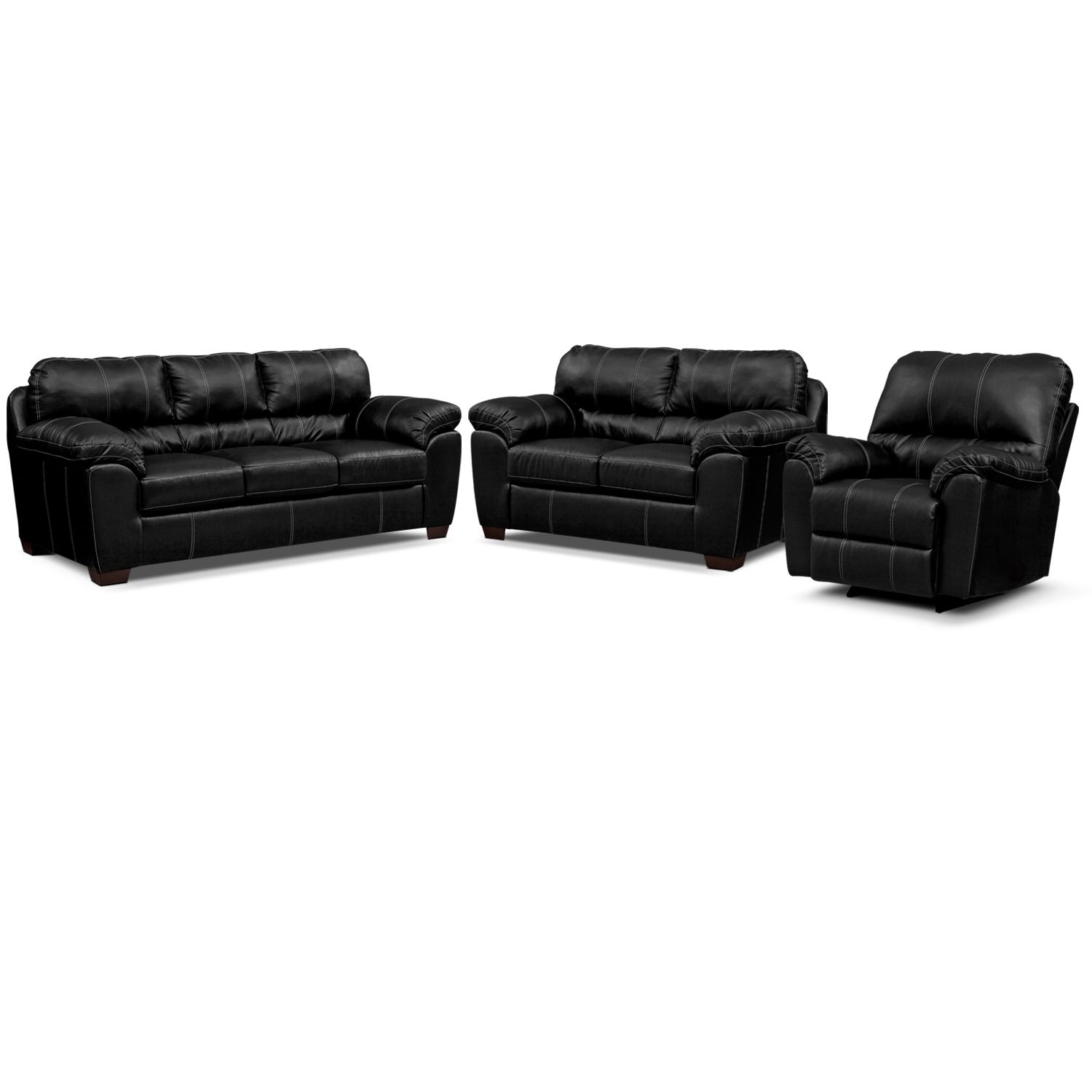 Colton Leather 3 Pc Living Room W Recliner Value City Furniture