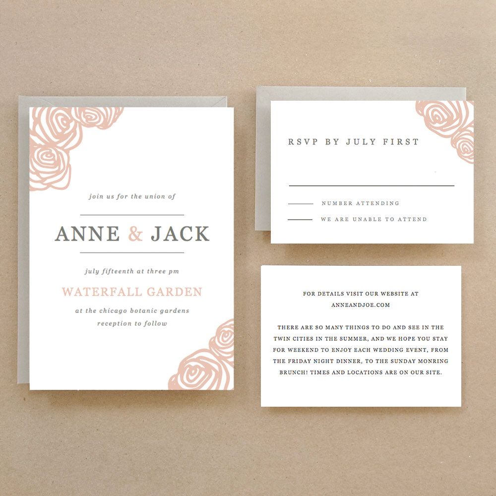 Printable Wedding Invitation Template | INSTANT DOWNLOAD | Roses ...