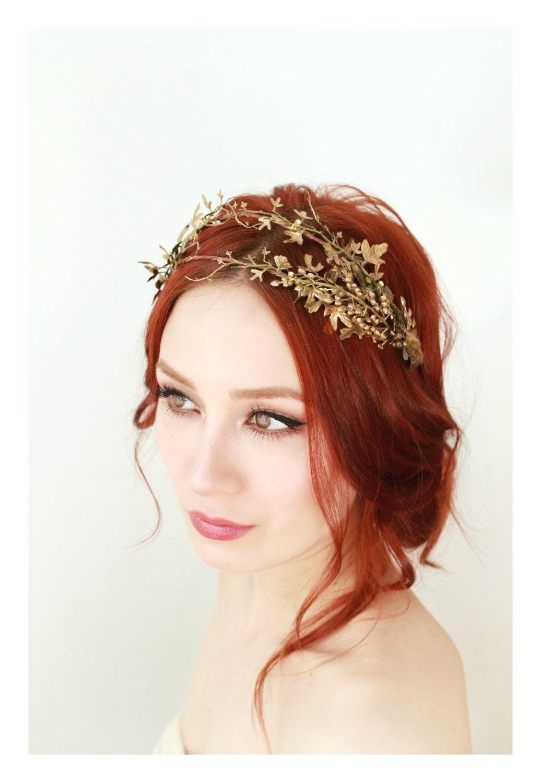 golden leaf crown, bridal hair adornment, grecian crown, woodland