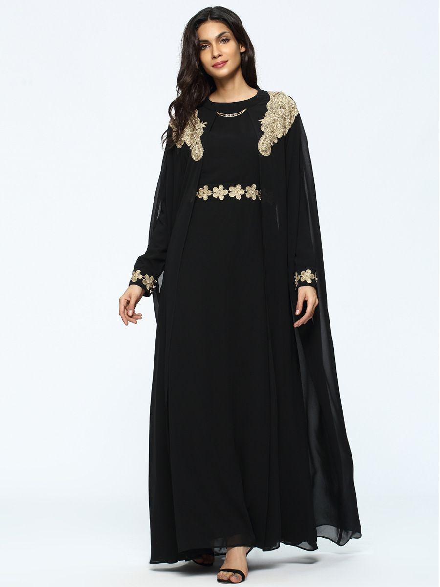 Muslim Abaya Maxi Dress Embroidery Chiffon Islamic Prayer Clothing Long Robe  Kimono Jubah Ramadan Loose Gowns 64c636bd18ce