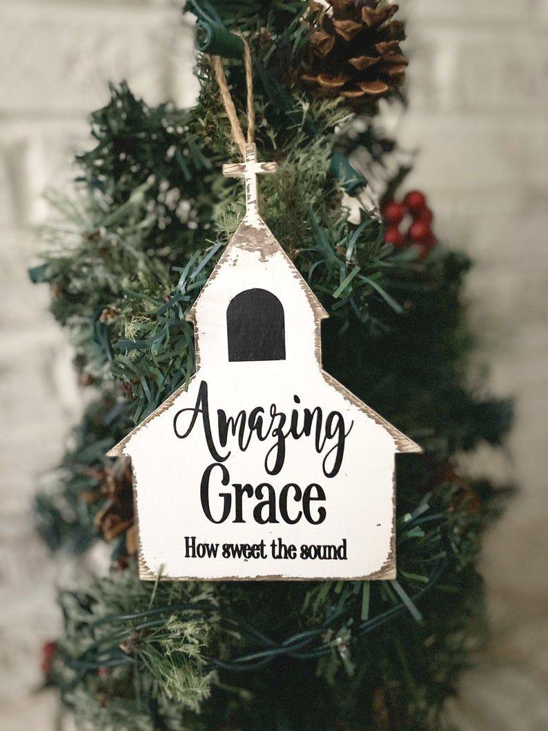 Amazing Grace Wood Church Decor How Sweet The Sound Handmade Etsy Christian Christmas Decorations Christian Ornaments Christmas Ornaments