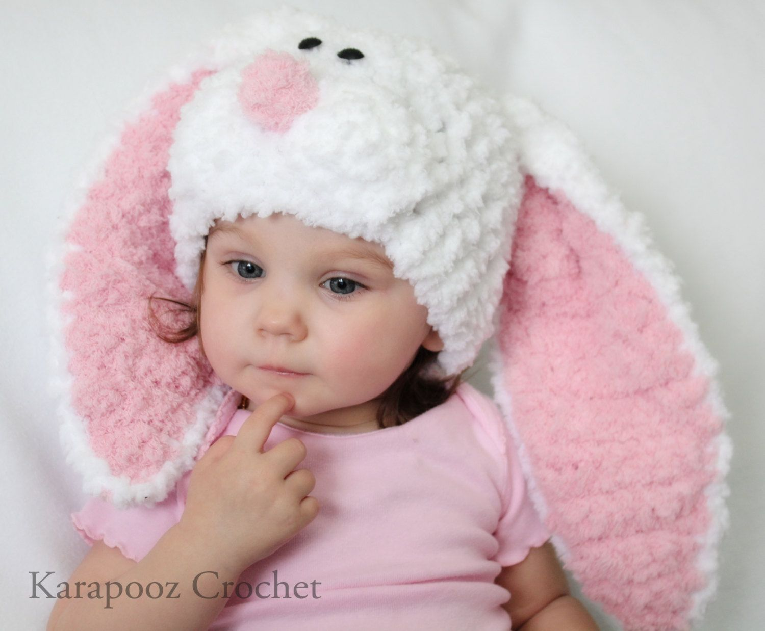 a13c1f93ae9 Newborn Baby Bunny hat with floppy ears crochet