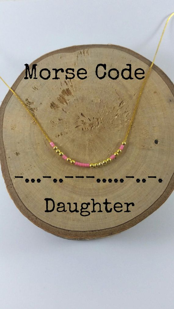 DAUGHTER Morse Code Necklaces, Secret Message, Dainty necklace, Minimalist, Morse code jewelry, gold necklace, Daughter gift #giftsforsister