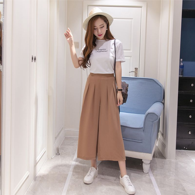 df47e1d1637 Women s summer cotton and linen wide leg pants big yards loose pant fashion  culottes elastic waist pantyhose female casual pants
