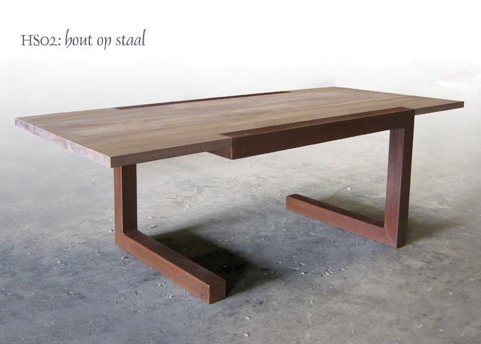 Tafel Hout Staal : Poots design tafel in geroest staal interior