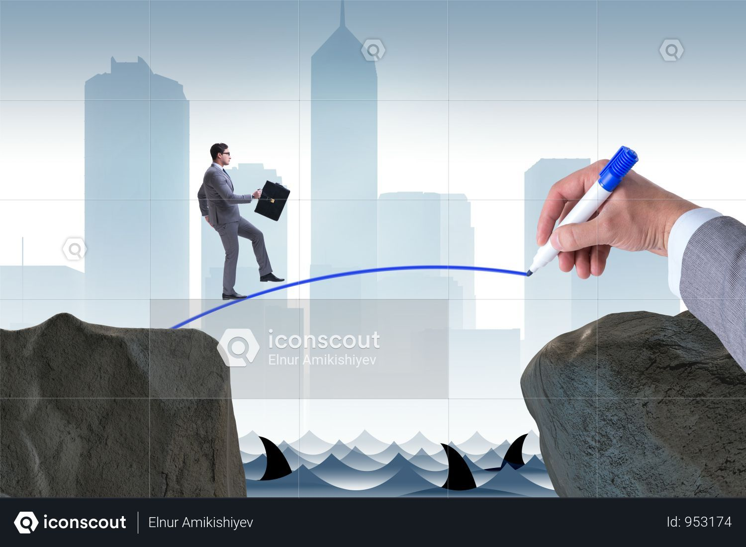 Hand Drawing Bridge Under Businessman Photo Corporate Life