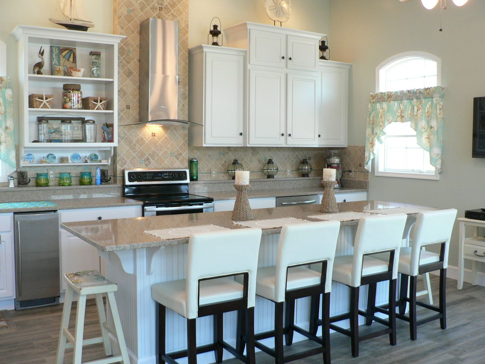 Expanded Pool House Kitchen Island Replaces What Was Originally A Peninsula With More Seating Options Great A Kitchen Design Home Kitchens Kitchen And Bath