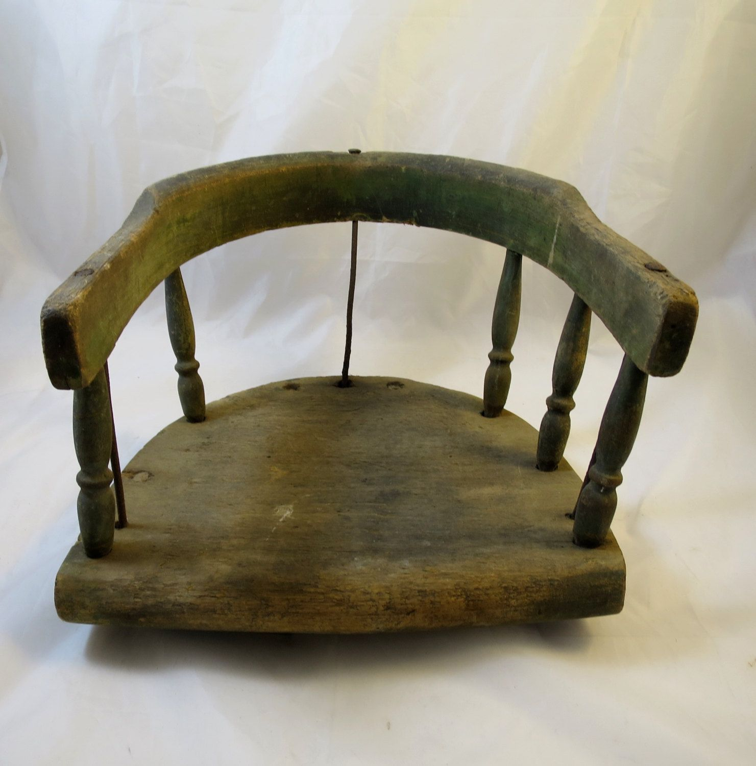 Antique Childs Chair Seat Windsor Style Spokes Metal Rods