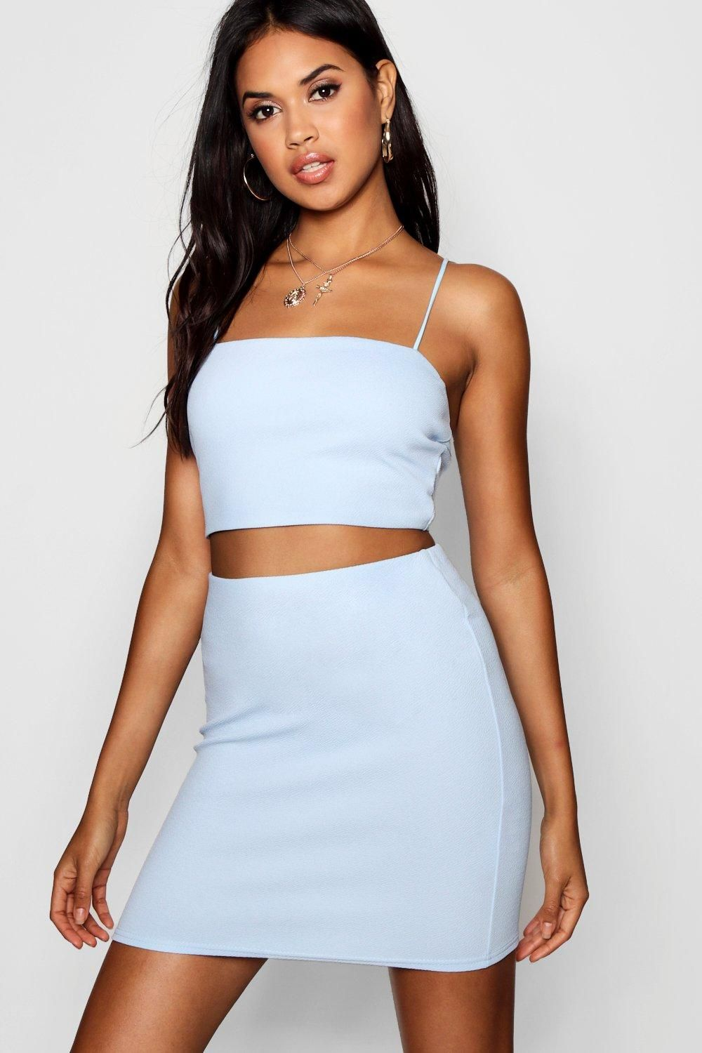 Womens Strappy Crop Mini Skirt Two Piece Set Blue 8 In 2021 Mini Skirts Designer Dresses Casual Skirt Co Ord [ 1500 x 1000 Pixel ]