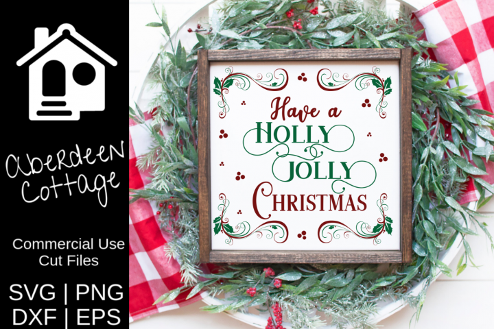 Fanciful Holly Jolly Christmas SVG Design (With images