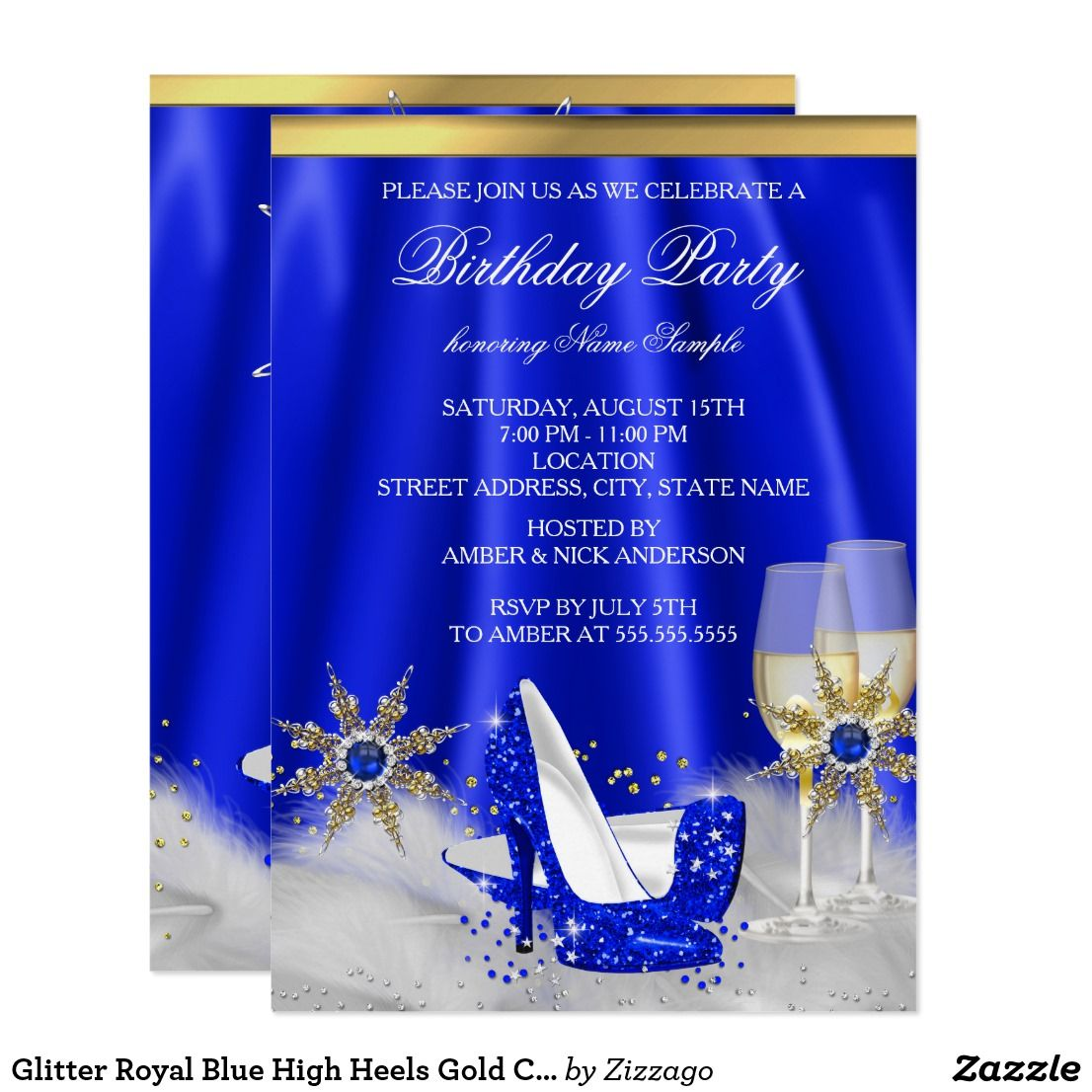 royal blue and gold invitation card